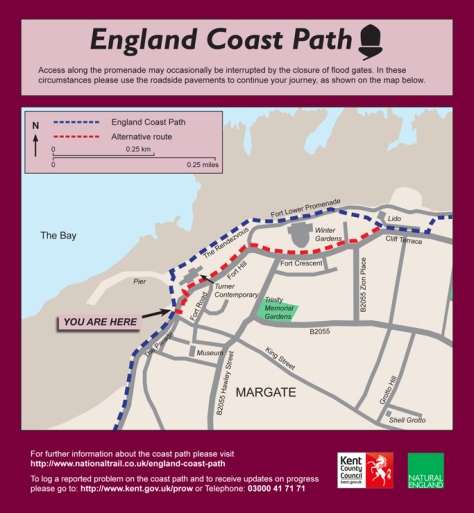 england coast path Margate map sign